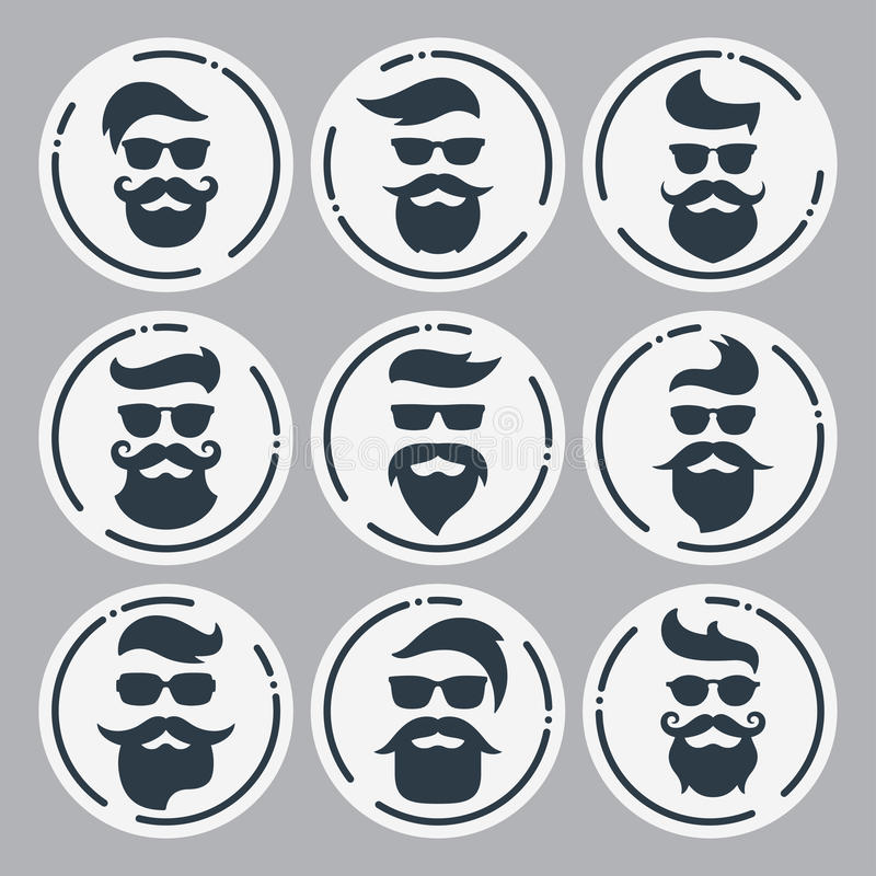 Monochrome hipsters faces set with different beards, glasses, ha. Ircuts, mustaches. Silhouettes, avatars, labels Vector illustration stock illustration