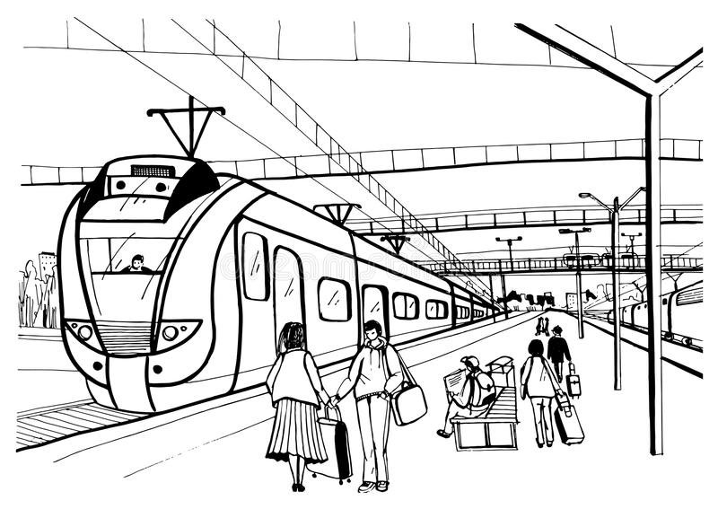 Monochrome horizontal sketch with people, passengers waiting arrival suburban electric train. Hand drawn vector royalty free illustration