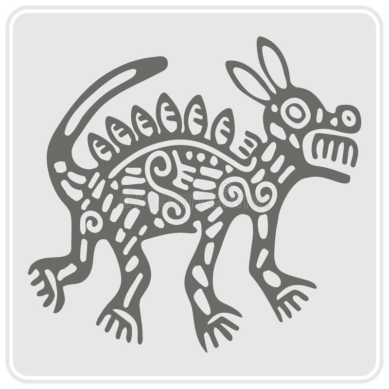 Monochrome icon with American Indians art and ethnic ornaments royalty free illustration