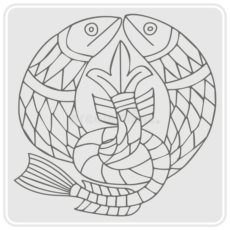 Monochrome icon with Celtic art and ethnic ornaments vector illustration