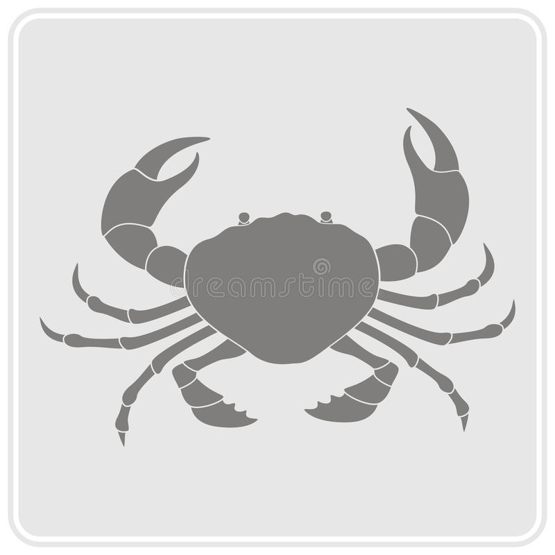 monochrome icon with crab stock illustration