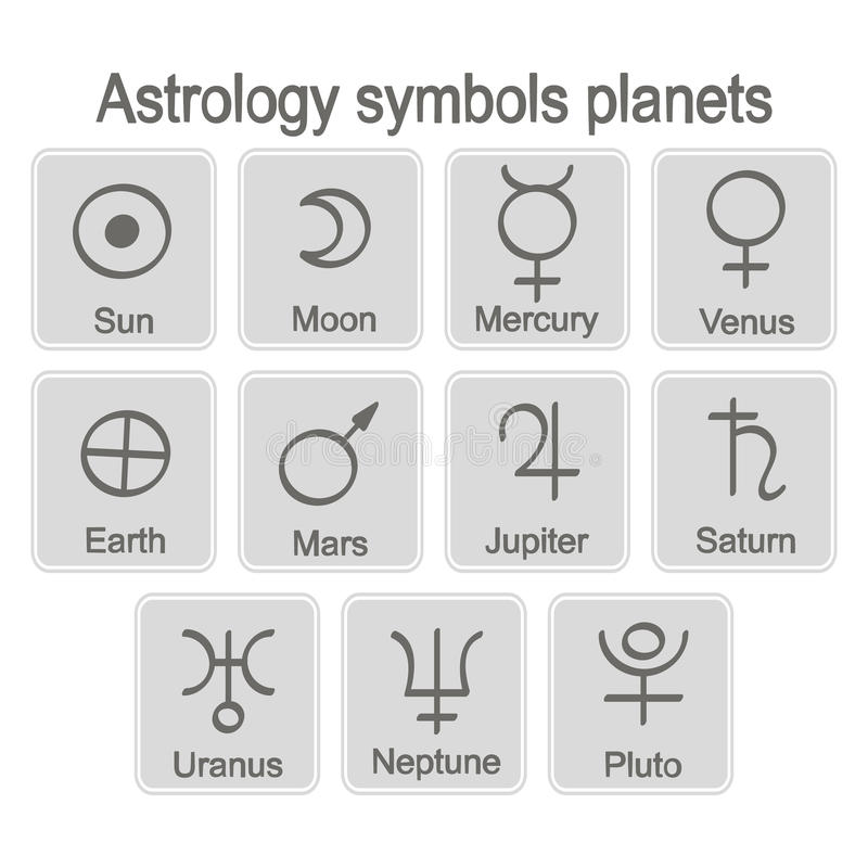 Monochrome icon set with astrology symbols planets royalty free illustration
