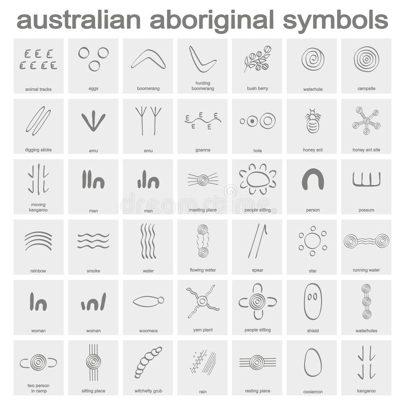Monochrome icon set with australian aboriginal symbols royalty free illustration