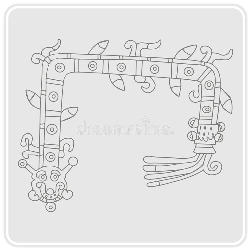 monochrome icon with symbol from Aztec codices stock illustration
