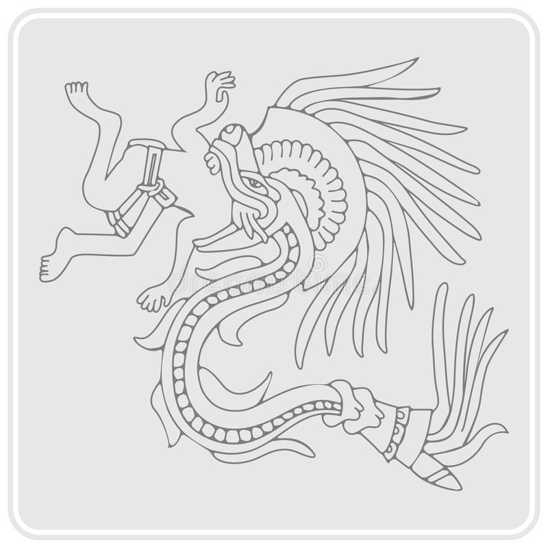 Free Monochrome Icon With Symbols From Aztec Codices Stock Images - 72829154