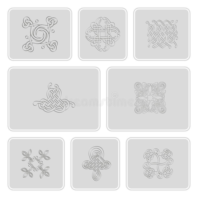 Monochrome icons set with Celtic art and ethnic ornaments for your design. Monochrome icons set with Celtic art and ethnic ornaments royalty free illustration