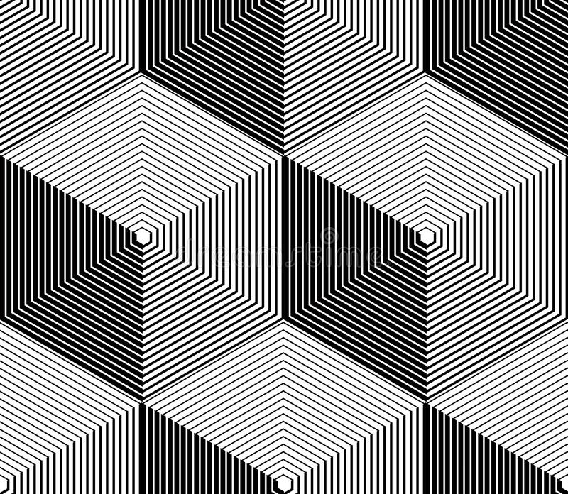 Monochrome illusory abstract geometric seamless pattern with 3d royalty free illustration