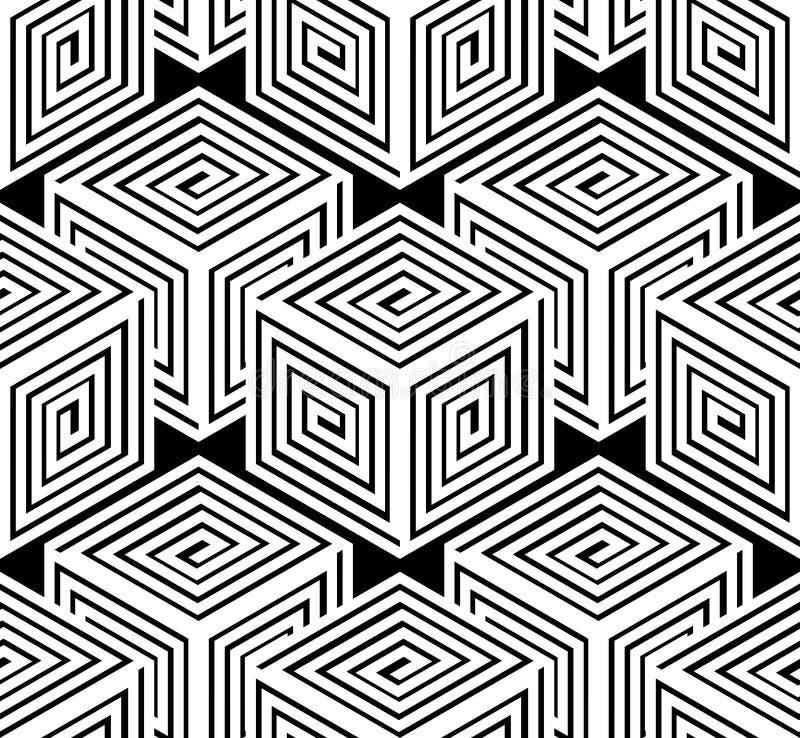 Monochrome illusory abstract geometric seamless pattern, 3d royalty free illustration