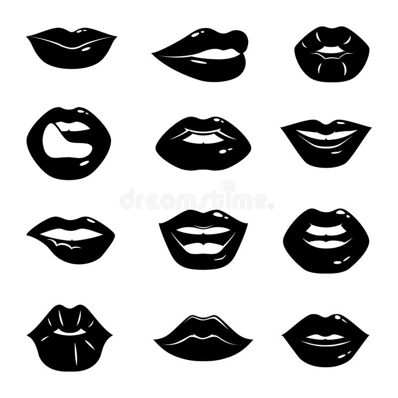 Monochrome illustrations of beautiful and glossy female lips isolated on white background stock illustration