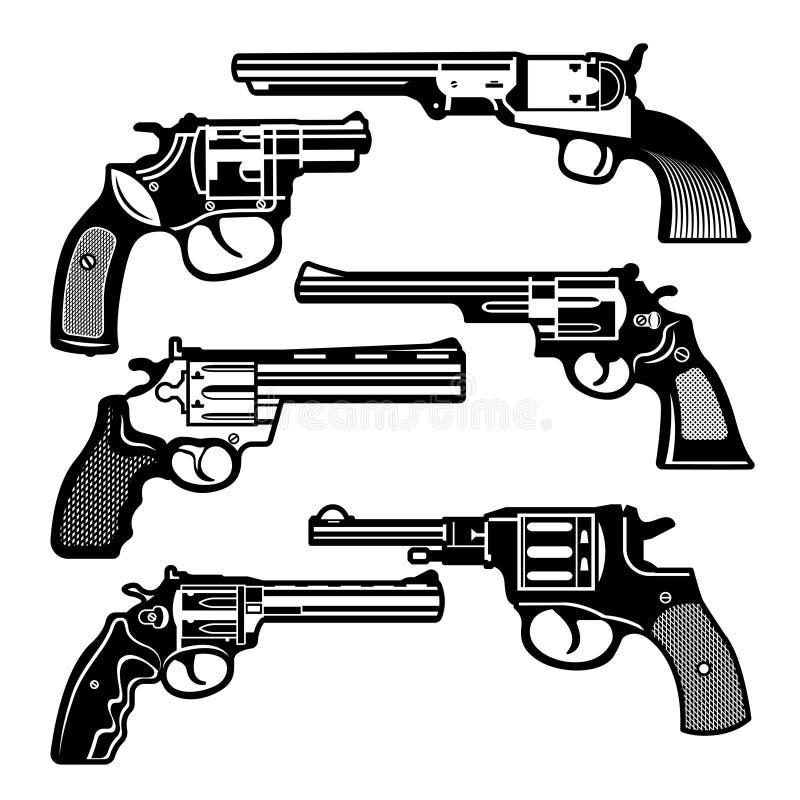 Monochrome illustrations of retro weapons. Revolvers vintage guns. Vector pictures set stock illustration