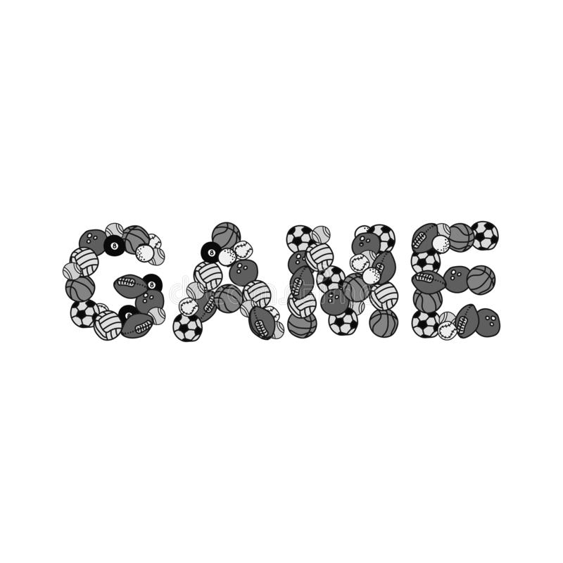 Monochrome image of sports balls :football basketball water Polo Golf American football Rugby . Laid out in word game. for t- stock illustration