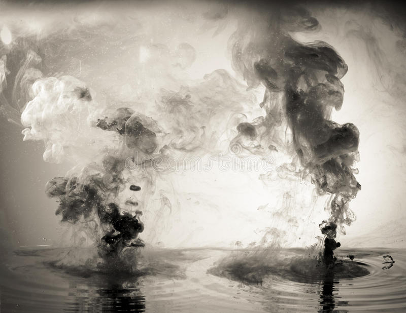 Monochrome inc. Abstract water ink background stock photo