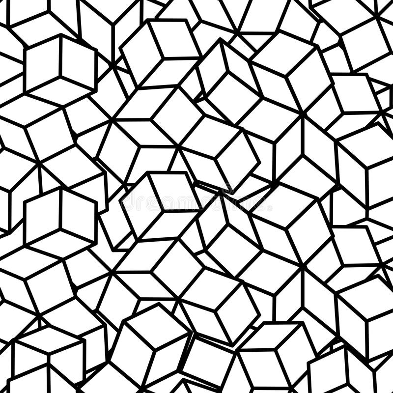Monochrome isometric fall cubes seamles texture background. Vector. EPS royalty free illustration