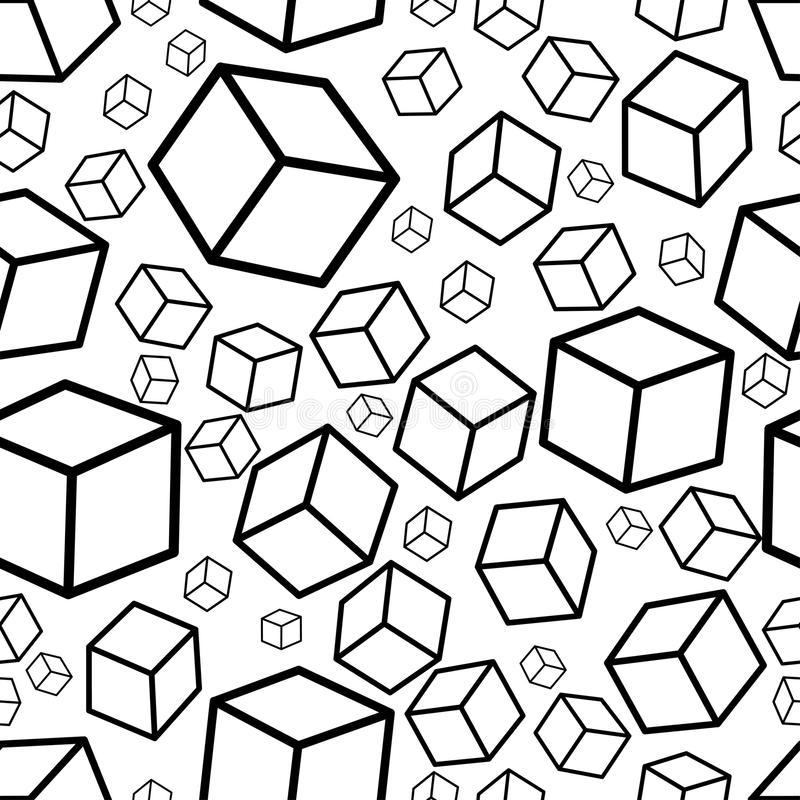 Monochrome isometric fall cubes seamles texture background. Vector. EPS stock illustration