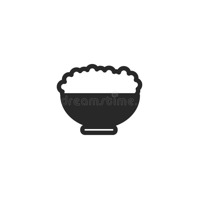 Monochrome japanese bowl of rice icon on white background stock illustration