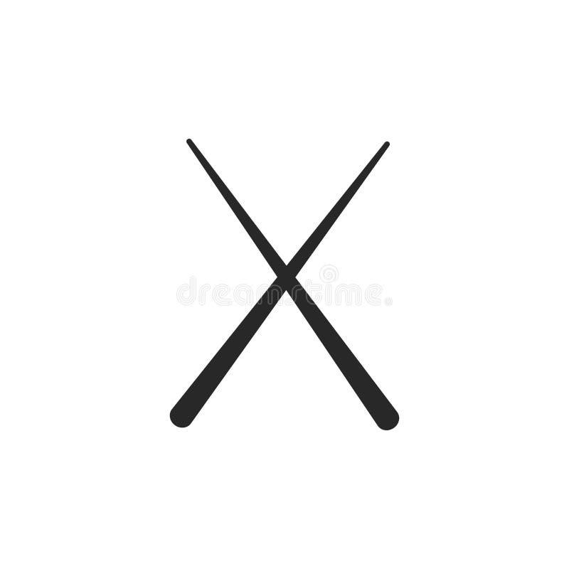 Monochrome japanese chopstick icon on white background stock illustration