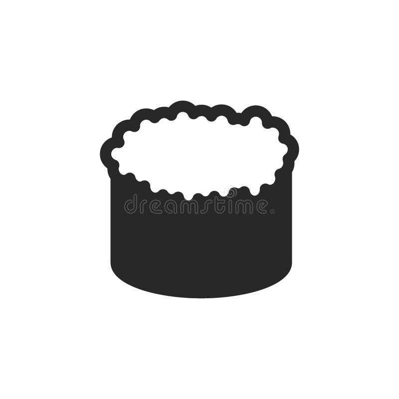 Monochrome japanese gunkan sushi icon on white background stock illustration