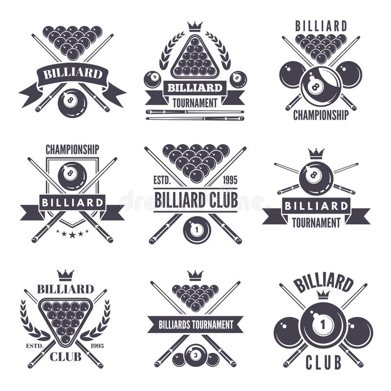 Monochrome labels or logos for billiard club. Vector illustrations of snooker balls. Billiard sport and snooker competition emblem vector illustration