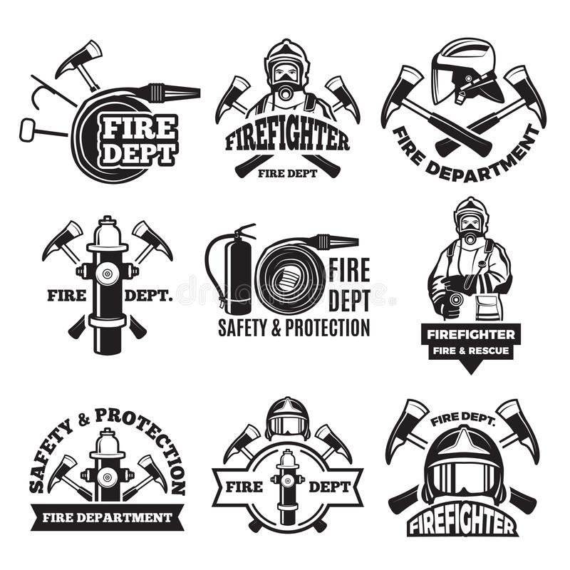 Monochrome labels set for fire department. Pictures. Of fireman. Firefighter in helmet, safety and protection illustration stock illustration