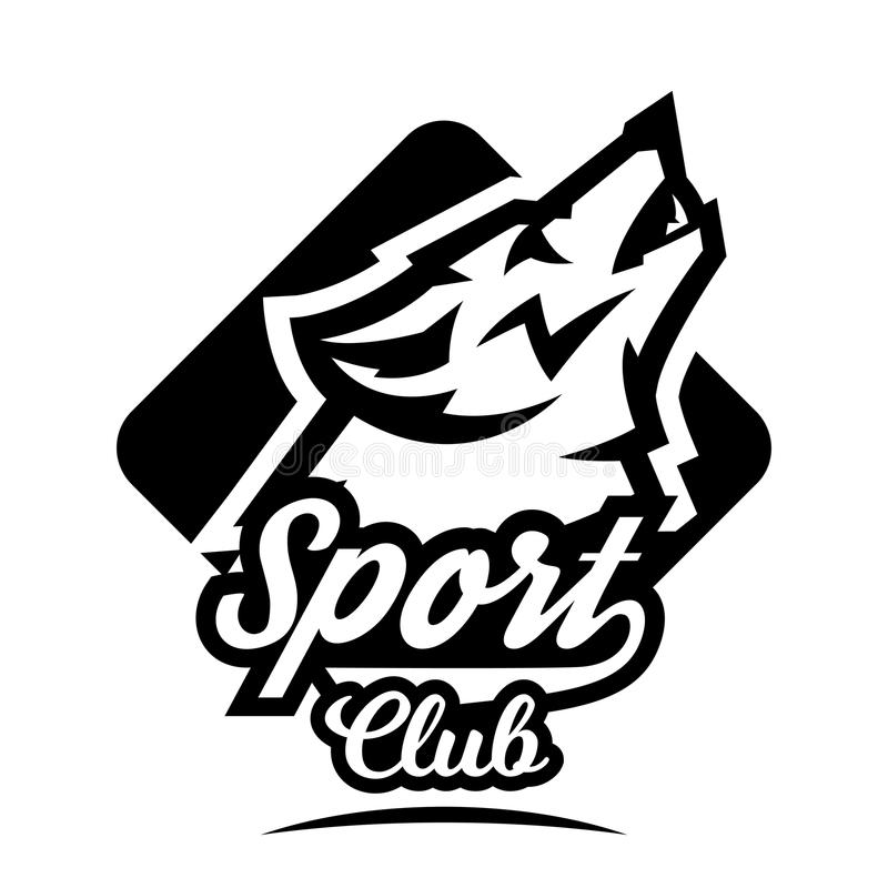 Monochrome logo, emblem, howling wolf royalty free illustration