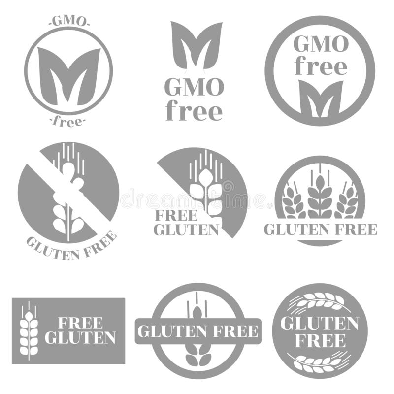 A set of trade marks depicting and informing about the absence of GMOs and gluten in products. vector illustration