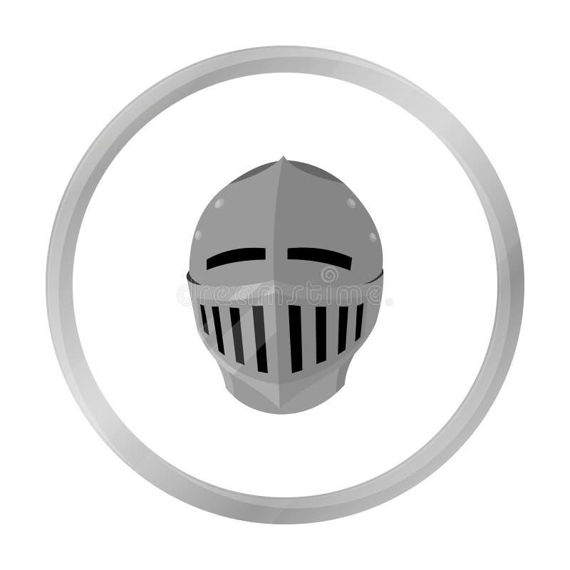 Monochrome médiéval d'icône de casque Icône simple d'arme des grandes munitions, bras réglés illustration de vecteur