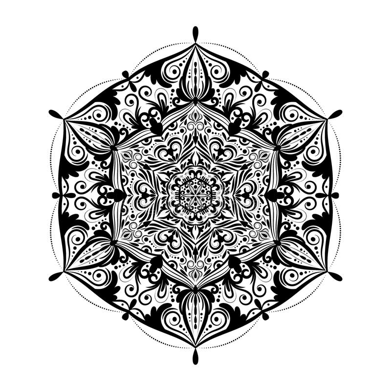 Monochrome mandala doodle element in boho style . Decorative round pattern, flower mandala, ethnic ornament, lace napkin. Vector illustration royalty free illustration
