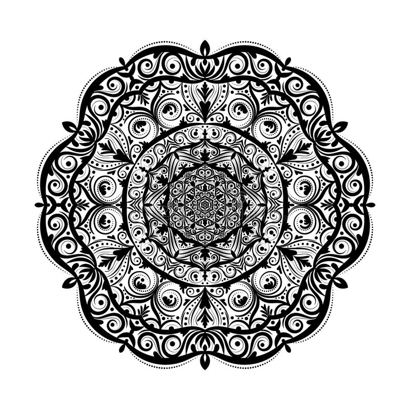 Monochrome mandala doodle element in boho style . Decorative round pattern, flower mandala, ethnic ornament, lace napkin. Vector illustration vector illustration