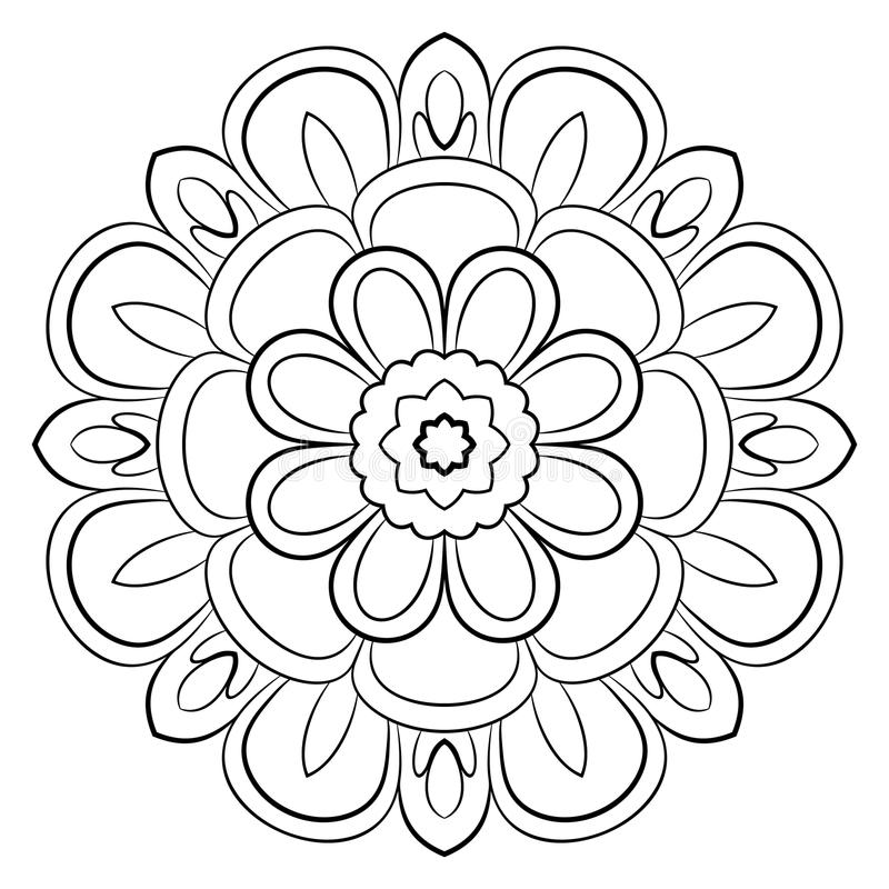 Monochrome mandala. A repeating pattern in the circle. A beautiful image for scrapbook. royalty free illustration