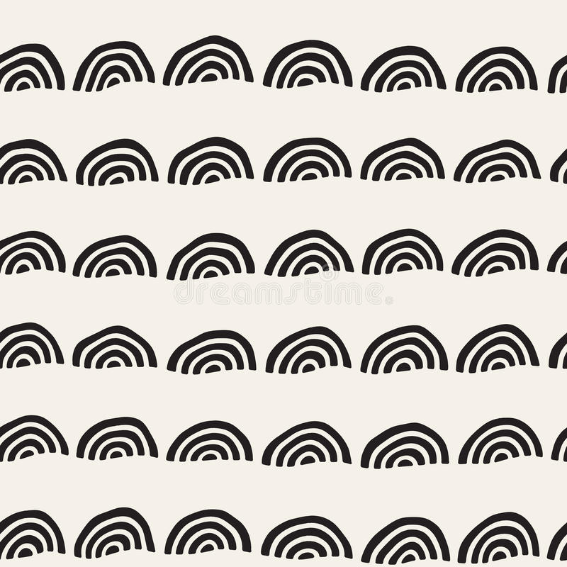 Monochrome minimalistic seamless pattern with arcs. Simple hand drawn texture. Vector background with rounded inky lines. Monochrome minimalistic seamless royalty free illustration