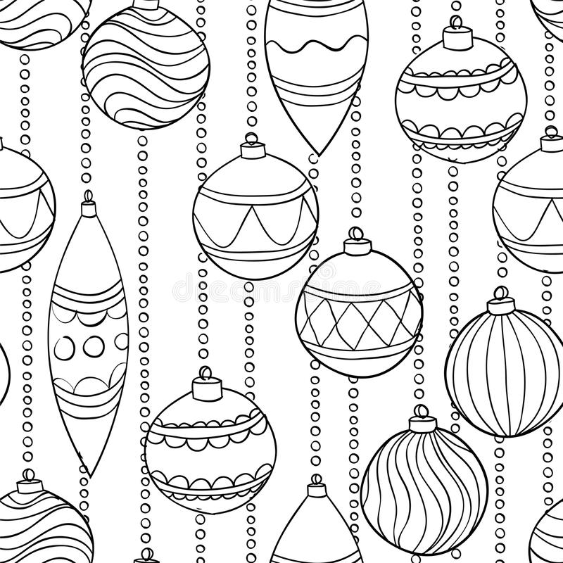 Monochrome, modèle sans couture noir et blanc avec des boules de Noël illustration libre de droits