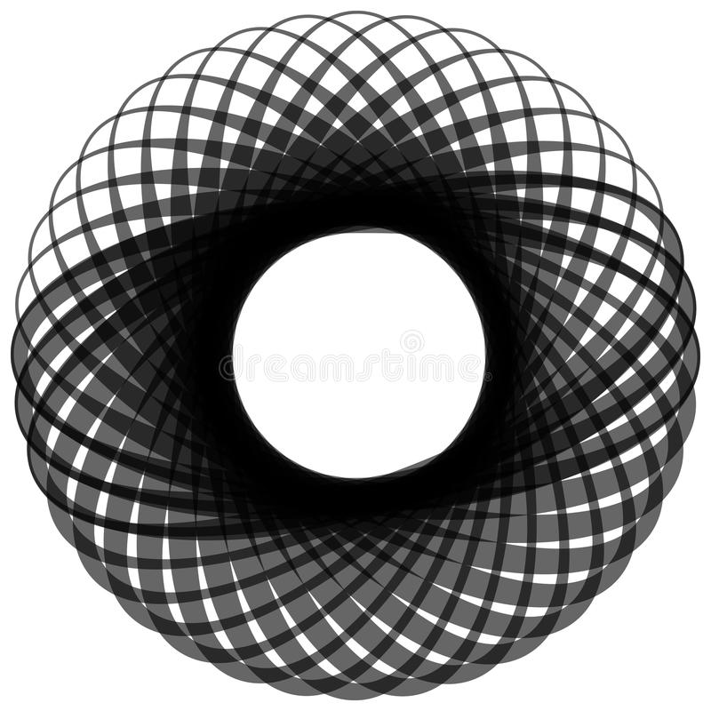 Monochrome motif isolated on white. Abstract circular element. Royalty free vector illustration vector illustration