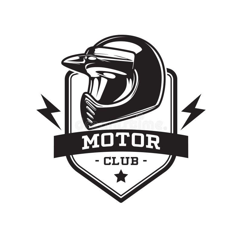MONOCHROME MOTOR CLUB EMBLEM stock illustration