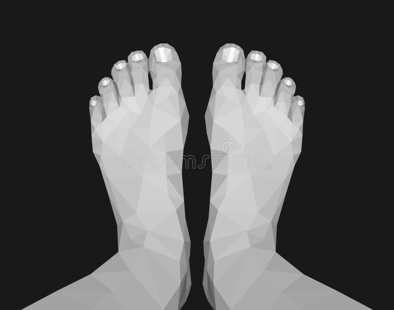 Monochrome noir et blanc polygonal de vue supérieure de pieds de jambes sur le noir illustration de vecteur