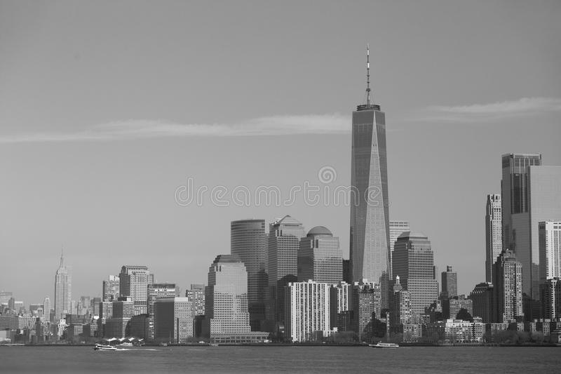 NY monochrome - One World Trade Centre and Empire State stock image