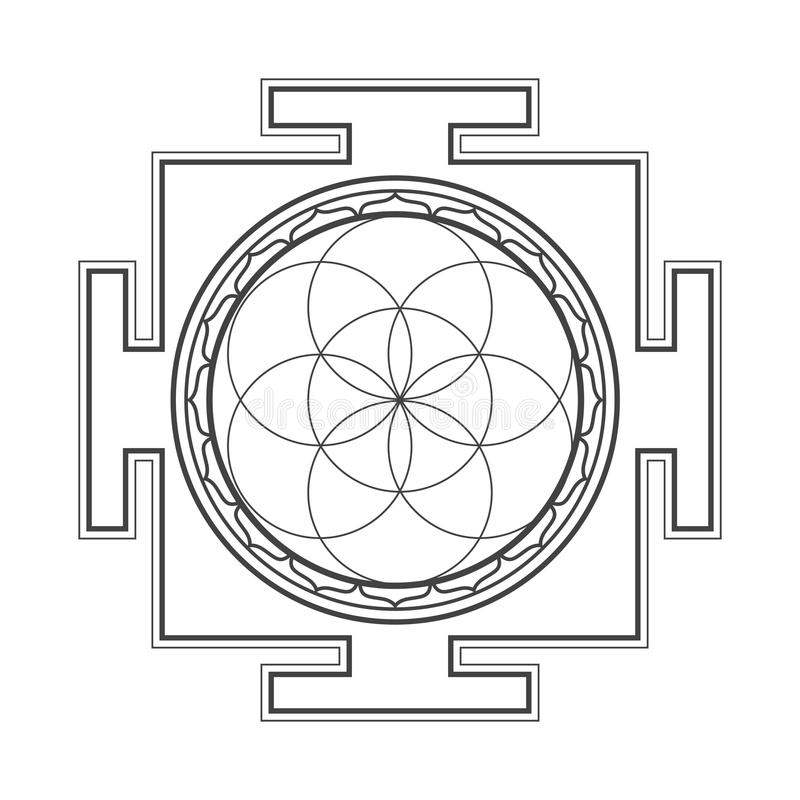 Monochrome outline seed of life yantra illustration. Vector black outline hinduism seed of life yantra illustration circles diagram on white background royalty free illustration