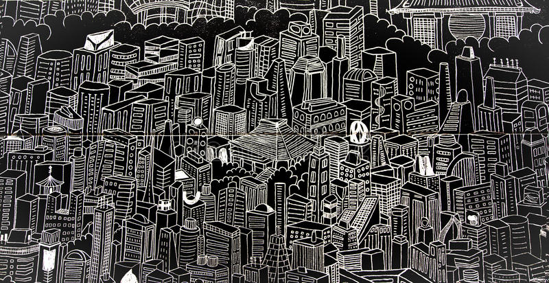 Monochrome panel with a graphic image of modern Tokyo. JAPAN, TOKYO, APRIL, 03, 2017 - Monochrome panel with a graphic image of modern Tokyo in the lobby of the royalty free stock photos