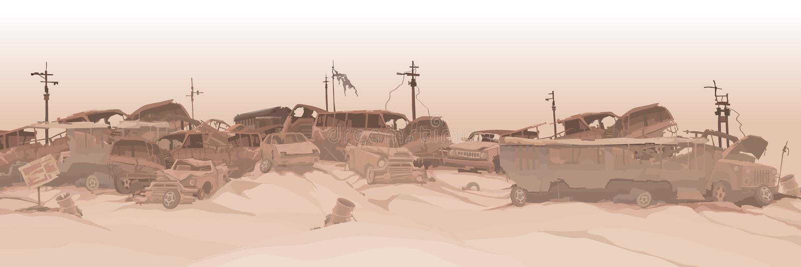 Monochrome panoramic background of a dump of various car remains. Monochrome panoramic background of dump of various car remains stock illustration