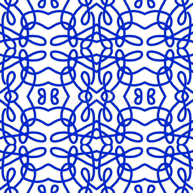 Monochrome pattern. Abstract geometric watermark in blue and white stock illustration