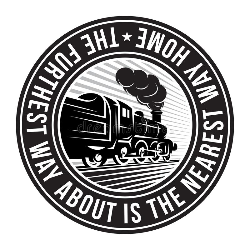 Monochrome pattern for design with retro train. Vector scalable illustration.  royalty free illustration