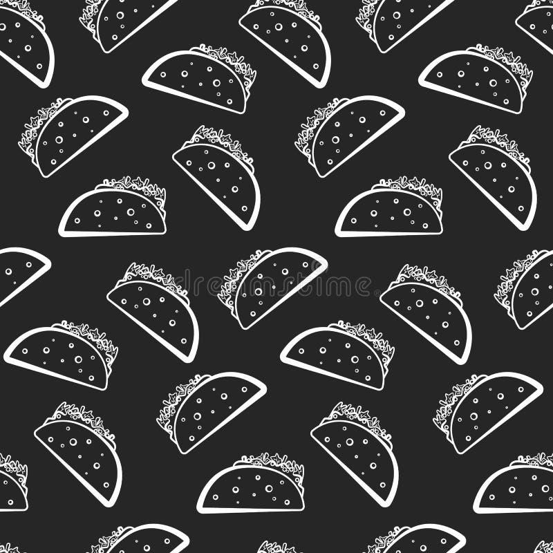 Monochrome pattern with white taco on black royalty free illustration