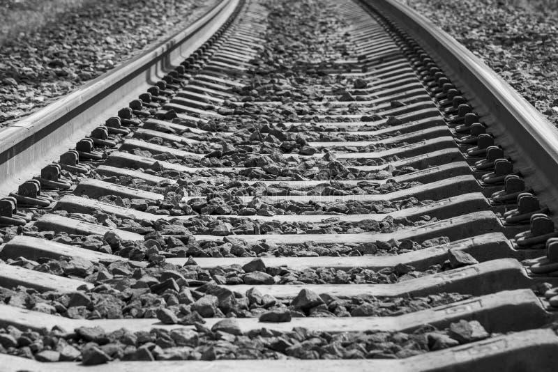 Black and white photo of railroad tracks. Monochrome photo of railroad tracks stock photos