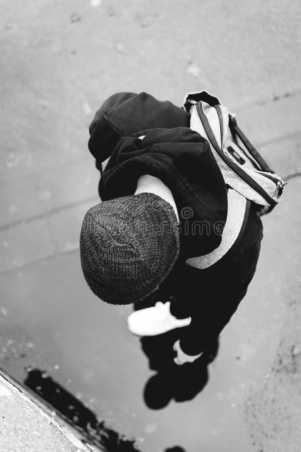 Monochrome Photography of a Person Wearing Beanie royalty free stock images