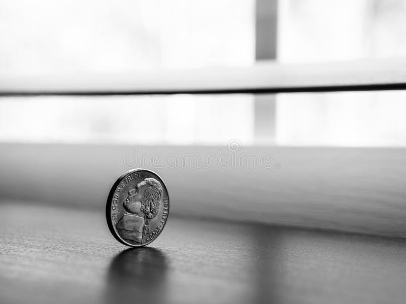 Monochrome Photography of Round Silver Coin royalty free stock photography