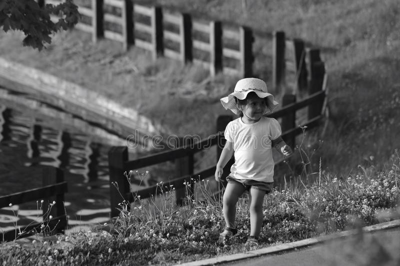 Monochrome Photography of Toddler On Flowers stock photo
