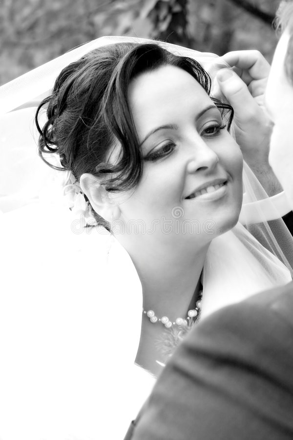 Monochrome picture of bride royalty free stock photo