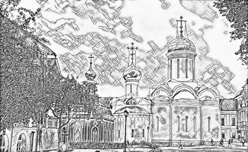 Monochrome sketch photographic art picture of shining golden cupola of orthodox church of The Holy Trinity Saint Sergius Lavra. Monochrome picture of orthodox stock illustration