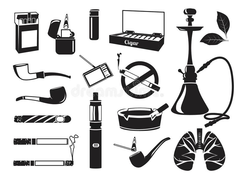 Monochrome pictures of hookah, tobacco leaves, cigars cigarettes and other tools for smokers. Vector addiction nicotine, smoke pipe and cigar illustration royalty free illustration