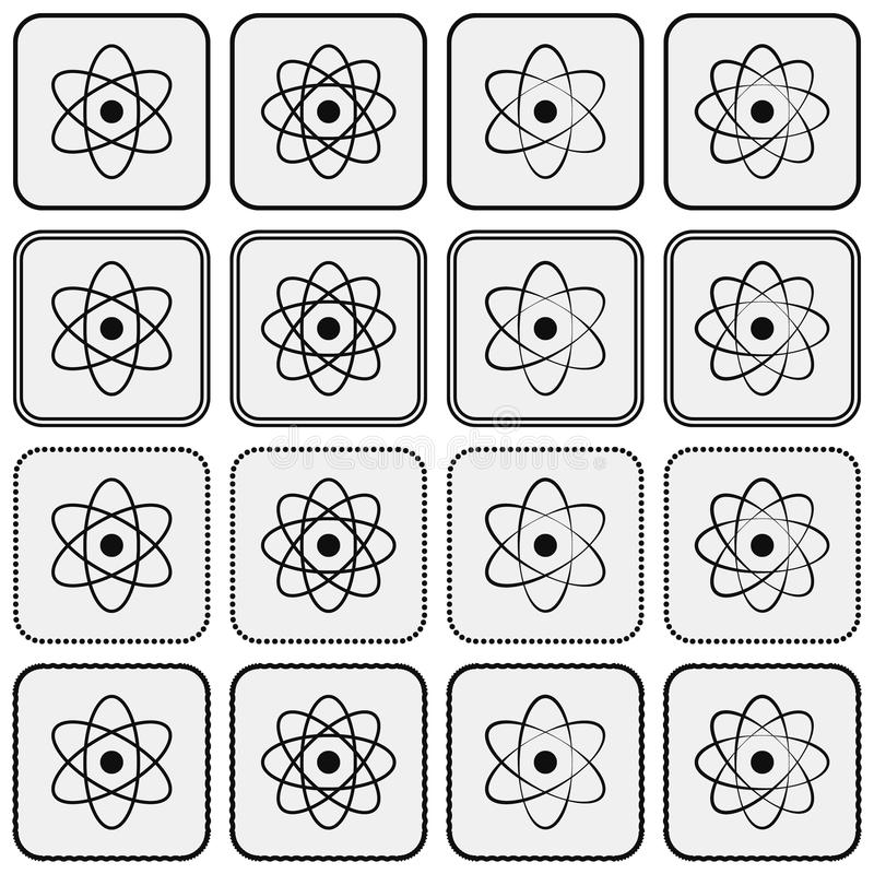 Monochrome planetary atom model science icon set royalty free illustration