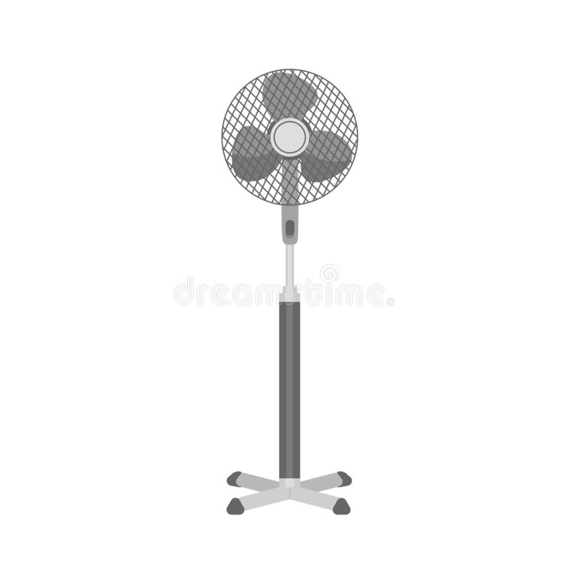 Monochrome plastic pedestal or floor fan isolated on white background. Home or office realistic electrical ventilator royalty free illustration